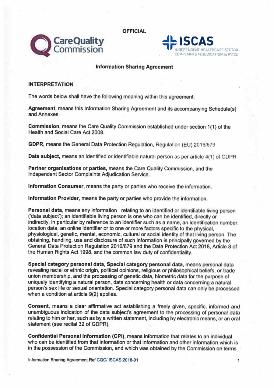 Information sharing with regulator - England (CQC)