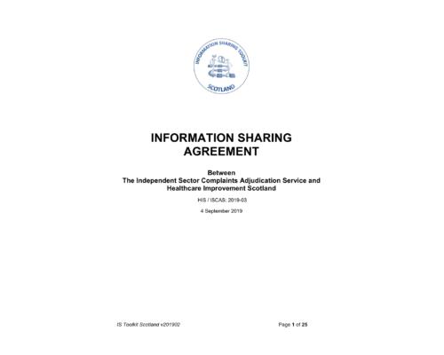 Information sharing with regulator – Scotland (HIS)