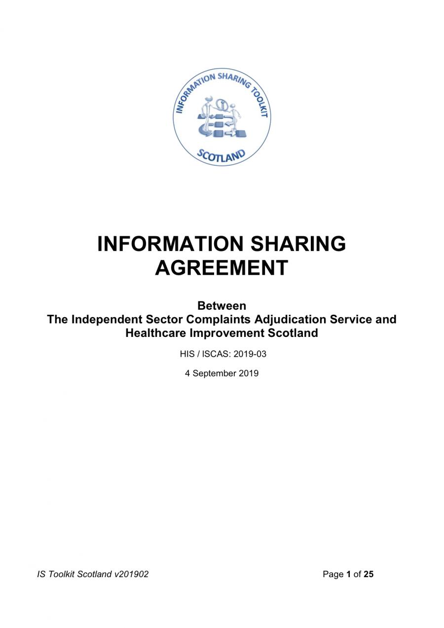 Information sharing with regulator - Scotland (HIS)