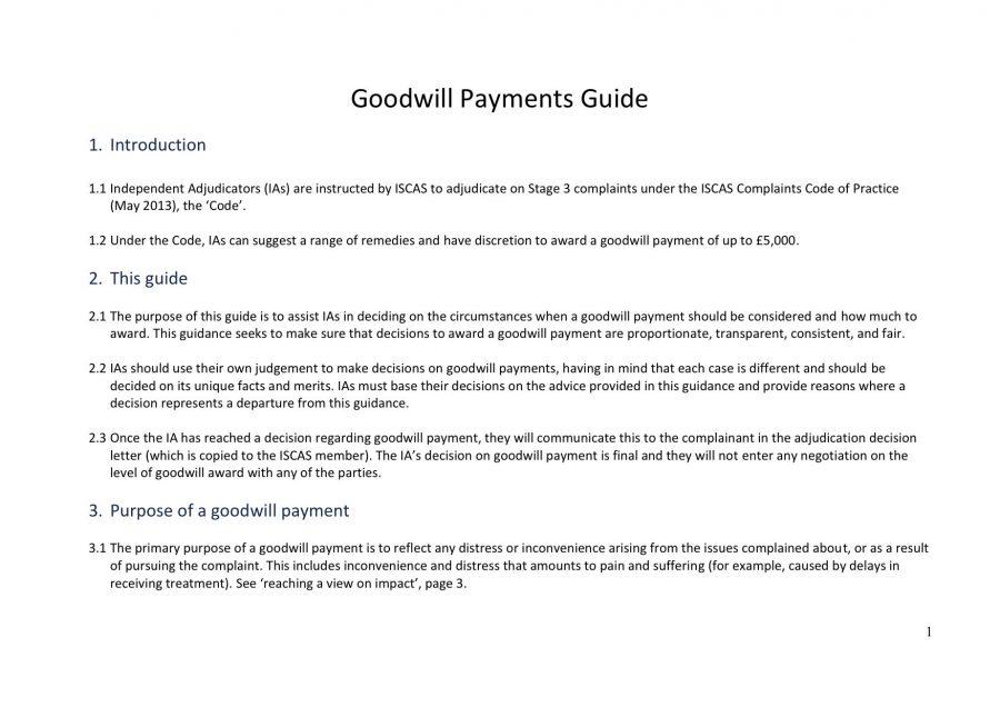 ISCAS Adjudicators Goodwill Payments Guide
