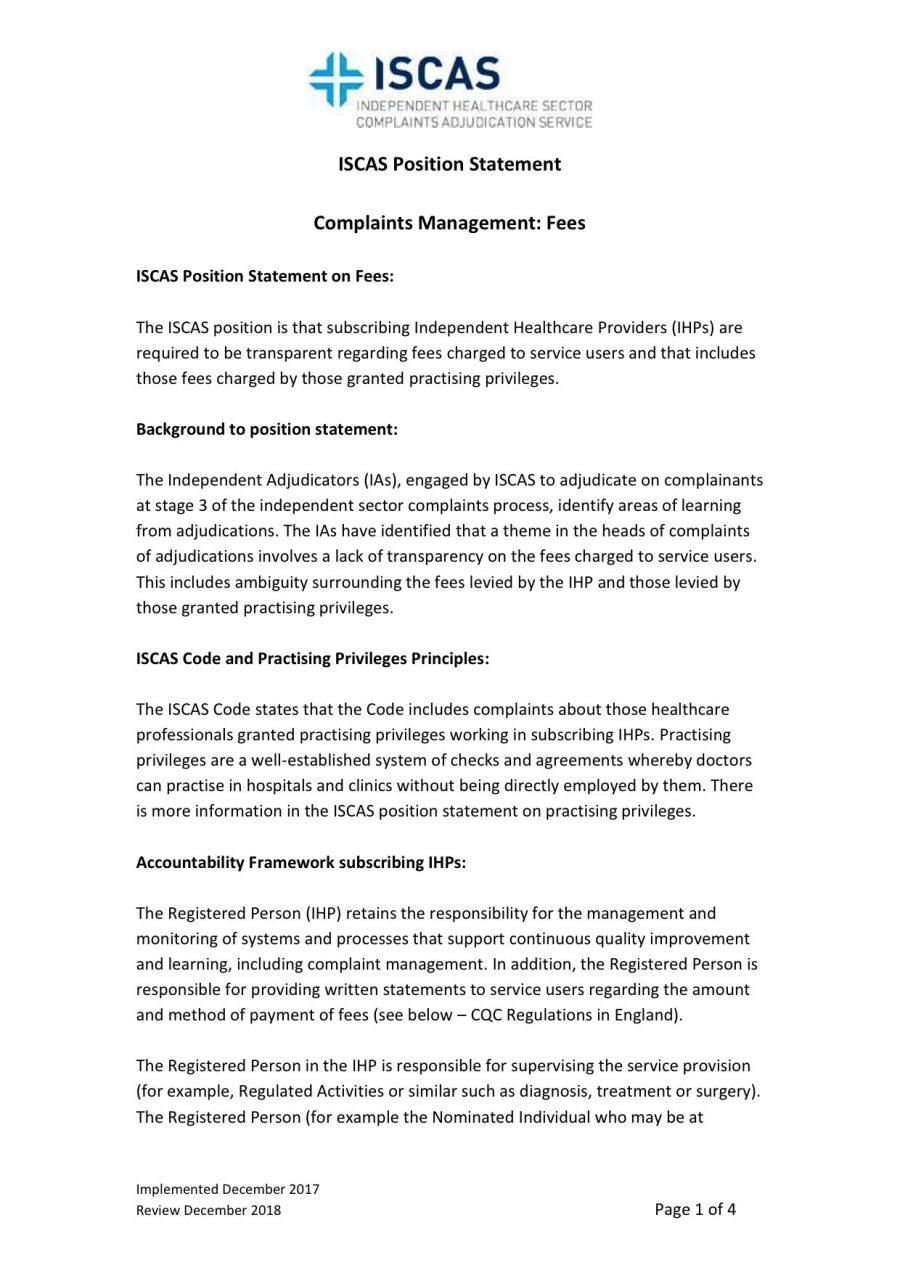 ISCAS Position Statement on Complaints Management: Fees